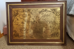 ($15) Cool Old-Style World Map on Metal with Wood Frame