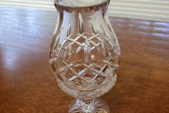 """($5) Cut glass candle holder - about 9"""" tall"""